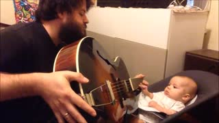 Adorable Father Perform With Guitar The Song - You Must Have Been a Beautiful Baby