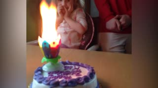 Little Girl's Birthday Cake Candles Becomes A Wild Blaze - Video