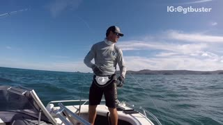 Guy fishing gets slapped in the face by fishing pole