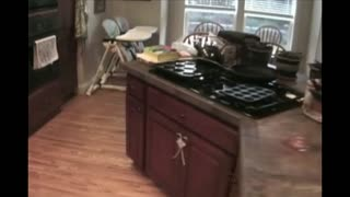 Toddler Drags Twin Babies Around Kitchen With Baby Walker