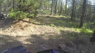 Riding the quads on a rocky trail in Tahoe National Forest.