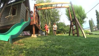 Collab copyright protection - two kids swing set girl fails jump - Video