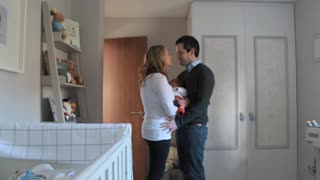 Cute pregnancy time lapse with Chester the dog carefully watching on - Video