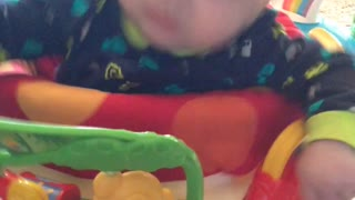 Cute Baby Caught Napping on the Activity Bouncer - Video