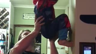 Kid Flies Through House Like Spider-Man