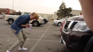 Boys in car silly string prank