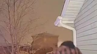 Front door security camera, husband slips down icy stairs on front porch