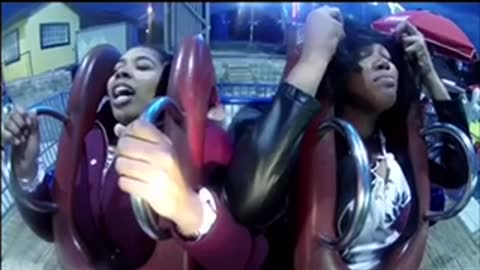 Girls totally freak out during thrilling slingshot ride