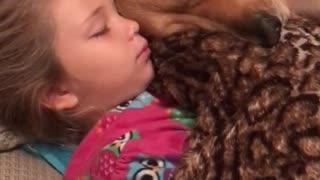Little girl preciously snuggles with her dog