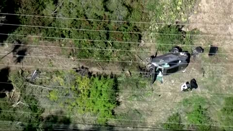 Footage shows wreck of Tiger Woods car in Los Angeles