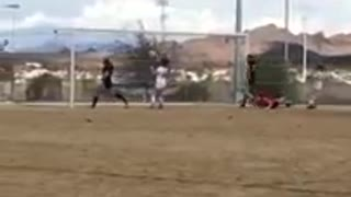 Girl hit face soccer ball