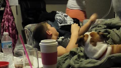 Mom Pranks Sleeping Son By Dropping Snowball On His Face