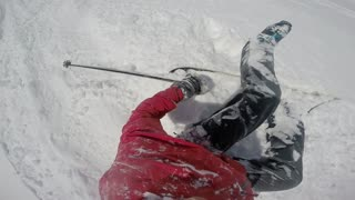 Helmet pov red jacket ski faceplant - Video