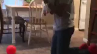 Father plays basketball with 4 month son!