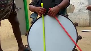 Cute boy playing with drums  - Video