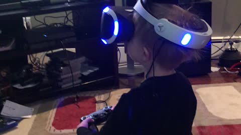 PS4 virtual reality play with grandson