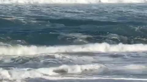 Old shirtless man hit by waves tumbles
