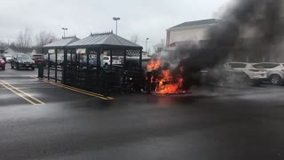 Truck Burning in Parking Lot - Video