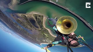 Man Plays The Tuba While Skydiving