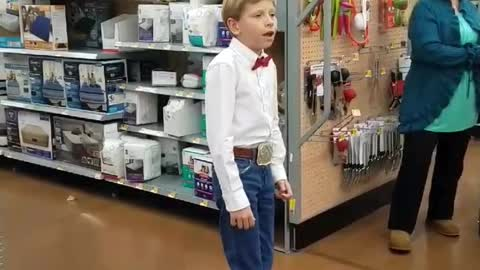 11-Year-Old Yodeler Sings His Heart Out In Walmart