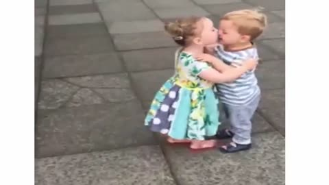 Funny kiss baby