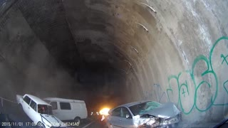 Car Accident in Highway Tunnel