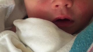Newborn hiccups while shes asleep, so cute! - Video