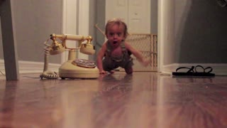 Baby Charges Through Hall To Answer Phone - Video