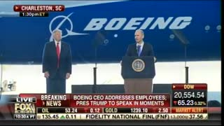 """Boeing Employees Chant """"USA! USA!"""" As President Trump Is Introduced"""