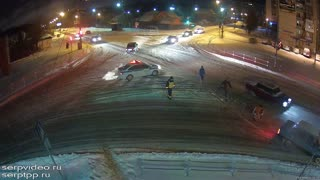 Night Sledding in Intersection - Video
