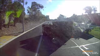 Distracted Driver Rolls Truck - M2 Sydney - Video