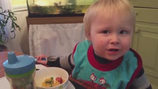 Cute Tot Can't Find His Fork Until He Looks In His Hand - Video