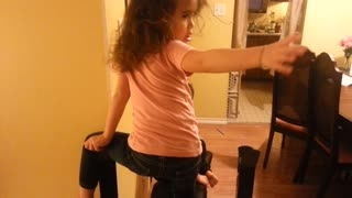 Toddler Gets Stuck On Daddy's Bench Press  - Video