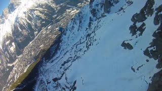 Insane winter wingsuit BASE jump in France - Video