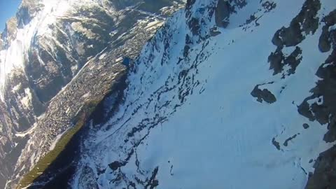 Insane winter wingsuit BASE jump in France