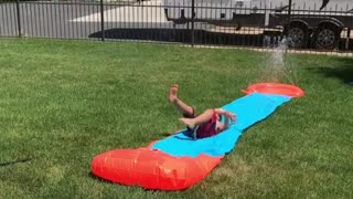 Collab copyright protection - cannon ball onto slip and slide kid - Video