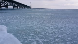 Icy Waves Under the Mackinac Bridge - Video