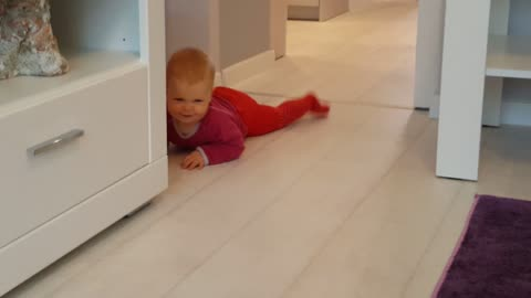 Baby Crawls for the First Time
