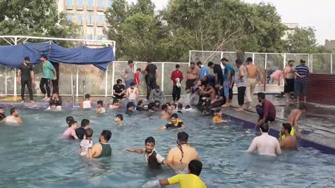 In Hot Weather every one enjoying in the Pool