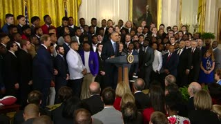 Obama welcomes back Alabama Crimson Tide champions - Video