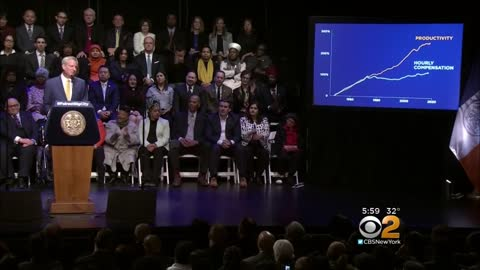 Bill De Blasio says there is plenty of money but it is in the wrong hands
