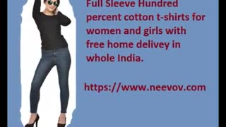 Full Sleeve Women Plain Chocolate Colour Tee Shirts - Video