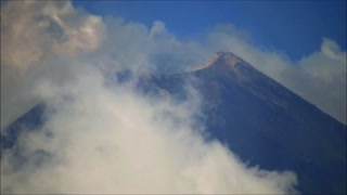Mount Etna Volcano Explosions and flying birds 25 August 2018