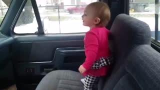 Baby Sister Is Extremely Excited to See Brother Getting Off the School Bus