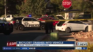 Bicyclist crashes into car