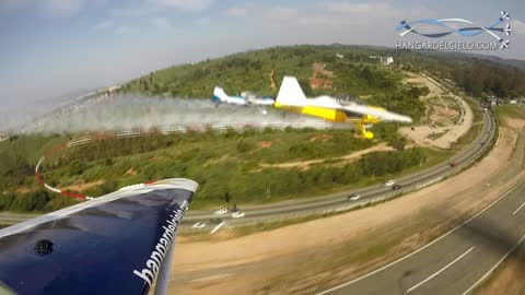 Three planes chained together pull off insane low pass stunt