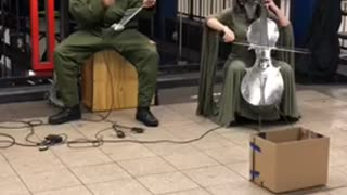 Metal elephant guy musician subway - Video