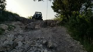 Wife conquers a down hill in the rzr