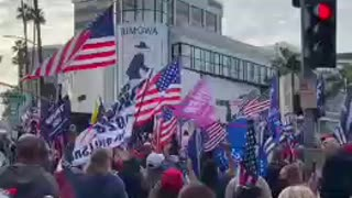 Trump supporters in the streets of Beverly Hills chanting USA USA!!