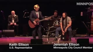 Keith Ellison sports a blonde wig, singing a song about Trump - Video